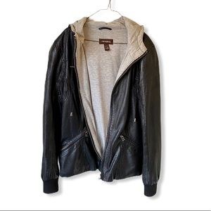 Genuine Leather Jacket with Hood (size small)